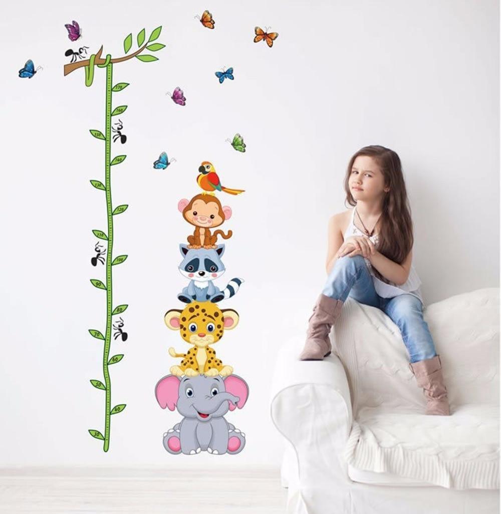 Cute tiger animales pila altura medida pegatinas de pared tatuajes de kids baby girl boy room decor nursery mural de papel tapiz de vinilo adhesivo