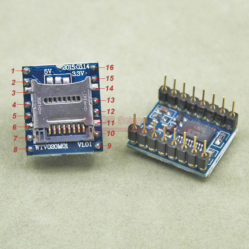 1 unids/lote WTV020-SD WTV020-SD-16P Mini SD TF tarjeta MP3 Módulo de Audio de voz Módulo de sonido para el PIC Arduino UNO