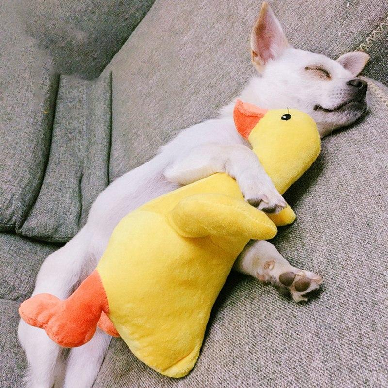 Mascotas perro juguetes de peluche pato amarillo de peluche de felpa suave juguete lindo muñeca almohada de peluche pato de peluche para los perros