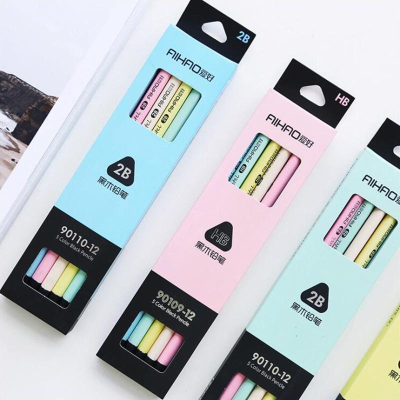 3 uds bolígrafos de lápices de madera negra con bonito triángulo de dibujos animados DIY papelería de oficina y suministros para estudiantes lápiz transparente para escribir