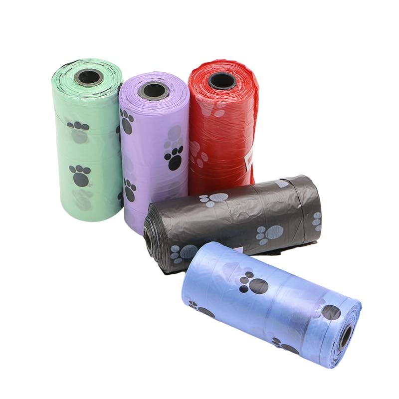 1 rollo/15 Uds. Bolsas de basura Multicolor para mascotas, perros, gatos, Bolsa para popó, bolsas degradables con impresión de caca, suministros para mascotas C42