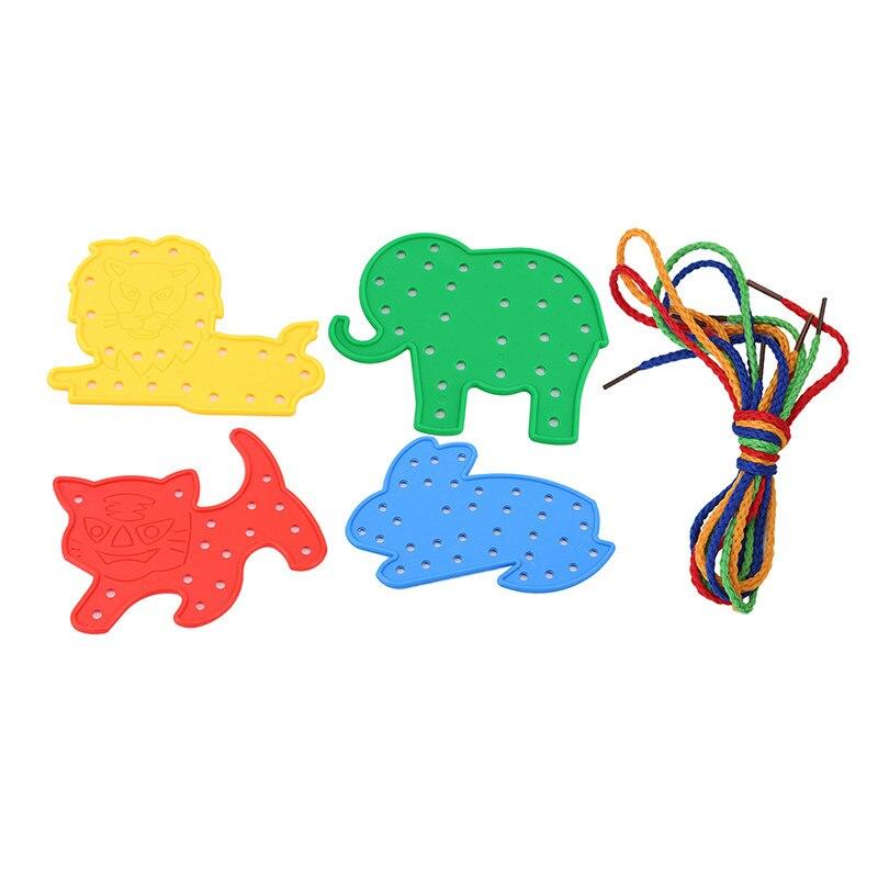 Juguete para niños, animales, formas de cordones, cordones, juguetes educativos, herramienta, elefante, Tigre, León, Animal, juguete de plástico para enhebrar