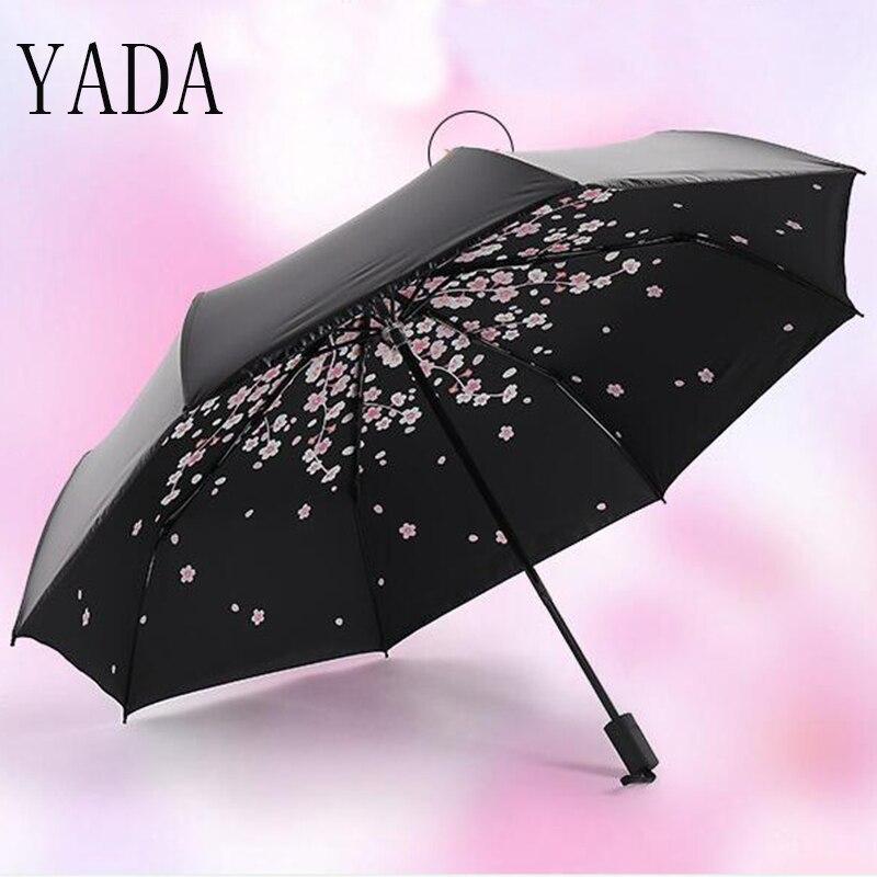 Qualidade para Mulheres Marca à Prova de Vento uv de Alta Yada Black Cherry Blossoms Charme Folding Umbrella Chuva Mulheres Guarda-chuva Guarda-sóis Ys135