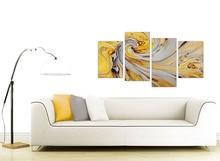 الخردل الأصفر و رمادي لولبية الدوامة-مجردة قماش انقسام 4 جزء طباعة على قماش للمنزل ديكور قطرة الشحن