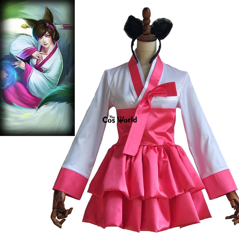 LOL Ahri-ثوب يوكاتا فوكس تسعة ذيول ، زي تنكري ، مثالي للألعاب