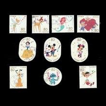 Timbres-poste de dessin animé japonais   10 pièces/ensemble, timbres-poste utilisés avec marqueur de poste pour Collection G67