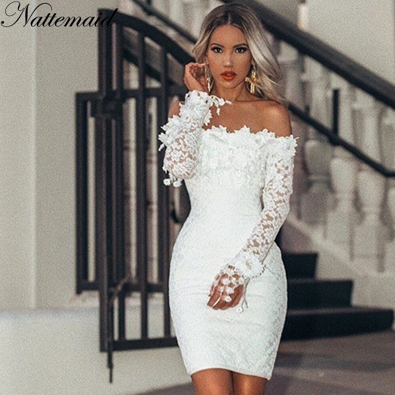 Nattemaid oco para fora floral branco vestidos de renda fora do ombro sem alças mini sexy vestido feminino lápis bodycon vestido de festa