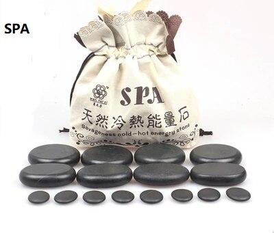 Massage Stones Massage Lava Natural Energy Massage Stone Set Hot Spa Rock Basalt Stone 8 Pcs Set and EU Plug Heater Bag
