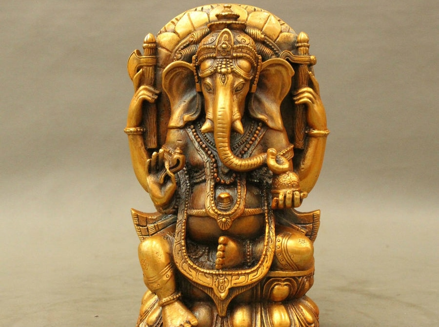 Envío Gratis bronce tibetano dorado Ganapati Ganesha Señor Ganesha elefante Buda estatuilla