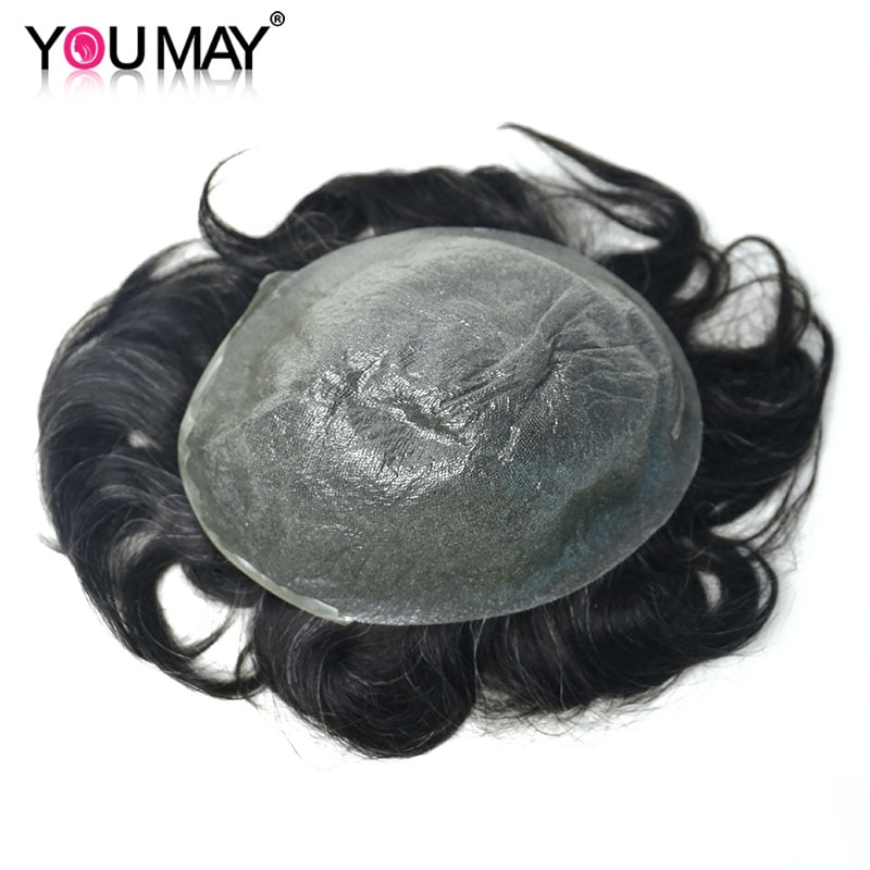 Ultra Thin PU Men's Wig Skin Toupee Hairpieces Replacement V-loop PU System Remy Human Hair Wigs For Men 8X10 #1B10 You May