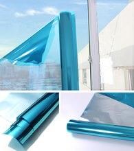 40/50/60x200 cm Blauw Zilver Glasfolie Spiegel Reflecterende Film. Mirrored Glas Privacy Stickers voor Home en Office