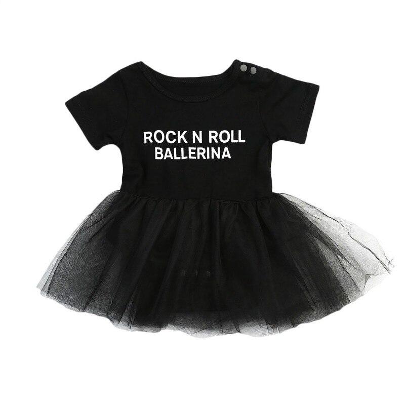 Pudcoco 2017 Neugeborenen Baby Mädchen Schwarz Bodysuit Tutu Kurzarm Kleid Body Brief Print Jumpsuit Outfit Kleidung 0-24 Mt