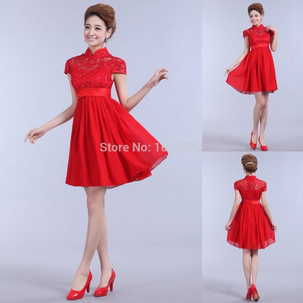 2017 neue Kurze Abendkleider Elegante Rote Braut Kleid High Neck Cap Sleeves Party Heimkehr/Graduation Formal kleid