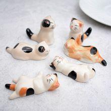 Baguettes en céramique porte-baguettes   Mignon support de dessin animé chat porte-baguettes tapis baguettes soins mode fournitures de table de cuisine 6 pièce/ensemble