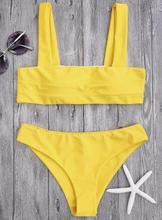 Femmes été Bikini jaune Slash épaule Sexy maillot de bain deux pièces ensemble