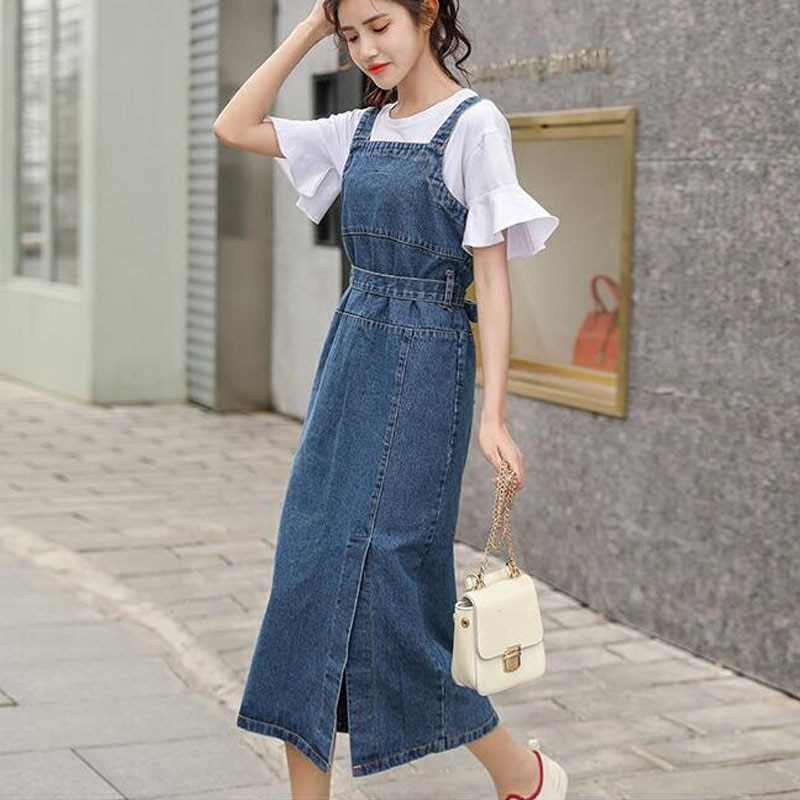 LISM Sleeveless Jeans Overalls For Women Back Zipper High Waist Bowknot Elegant Long Fitted Summer Dress 2019 Slit Denim Dress