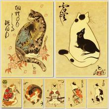 Vintage Japanse Samurai Kat Tattoo Kat Retro Posters Kraft Behang Hoge Kwaliteit Schilderij Voor Home Decor Muurstickers