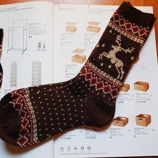 5 pairs Men Socks Retro deer double-knit core needle thick warm socks lovers socks for men women the same paragraph Meias unisex