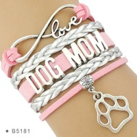 High Quality Infinity Love Multilayer Stacking Leather Wrap Dog Person Doggie Paw Print Dog Mom Bracelets for Women