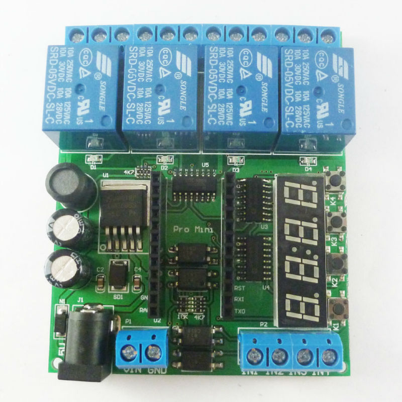 DC 5-24V 4 canal Pro mini PLC módulo de protección de relé para Arduino temporizador de retardo multifunción Placa de interruptor