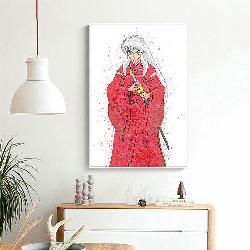 Venta caliente acuarela Original rojo Inuyasha película AModern decoración de la pared del hogar pintura lienzo arte impreso HD pintura impresa