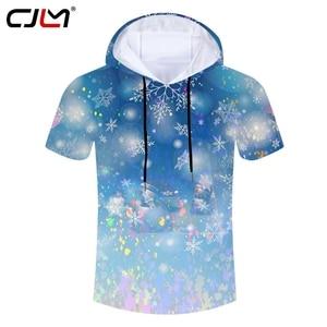 CJLM Christmas Hoodes Tshirt Man High Quality Polyester Tee Shirt 3D Printed Colorful Snowman Mens Large Size T-shirt