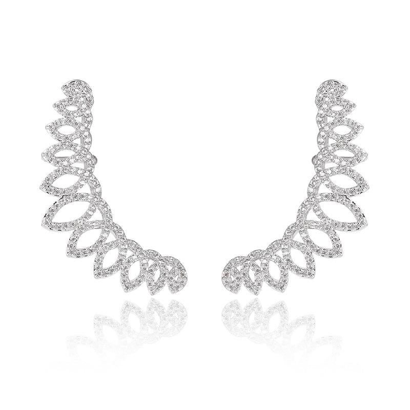 XIUMEIYIZU laiton placage mode évider cubique zircone fleur grimpeur oreille manchette enveloppes CZ cristal Clip sur boucles doreilles