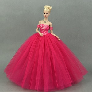 Dress + Veil / Hot Red Evening Dress Gown Bubble skirt Clothing Outfit Accessories For 1/6 BJD Xinyi FR ST Barbie Doll Girl gift