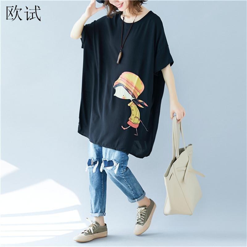 Plus Size 2020 Summer Tee Long T Shirt Women Cartoon Girl Print Harajuku Kawaii Tshirt Casual Loose Shirts Tops Femme 5xl 6xl