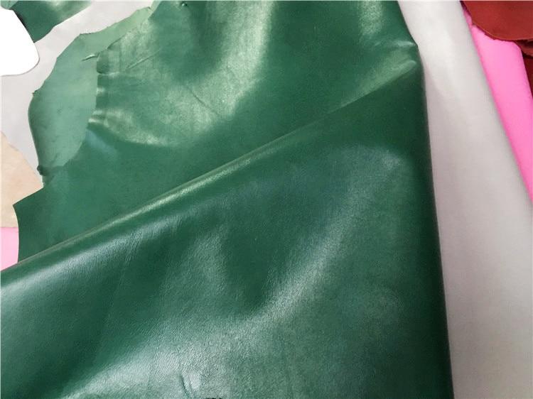 Piel de oveja de grano genuino verde oscuro material venta por pieza entera