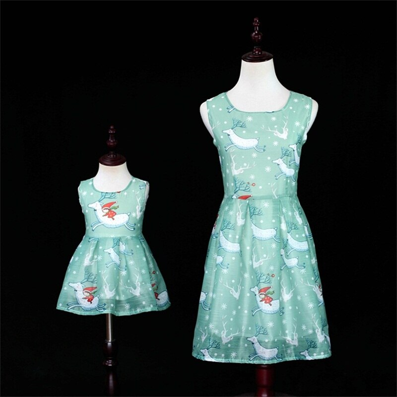 Verano azul Navidad elk impresiones vestido mamá niñas princesa fiesta faldas familia juego de ropa conjunto madre e hija vestidos