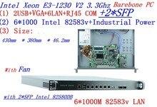 Routeurs daccès universel 1U pare-feu PC Barebone avec 2 * SFP intel 6*82583 v Gigabit lan Inte Quad Core Xeon E3-1230 V2 3.3G