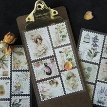 3Sheets/Pack Vintage Postage Stamp Sticker Traveler's Post Card Decorative Sticker Scrapbooking Stickers
