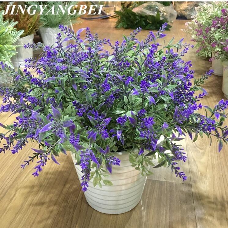 7 cabezas/Uds plantas acuáticas ramo de flores de lavanda decorativa flores artificiales de seda flor romántica decorativa de grano
