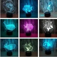 Nouveau requin 3d veilleuses colorees tactile Led visuelle lampe de bureau lumieres cadeau atmosphere maison acrylique 3d lampe de Table pour chambre