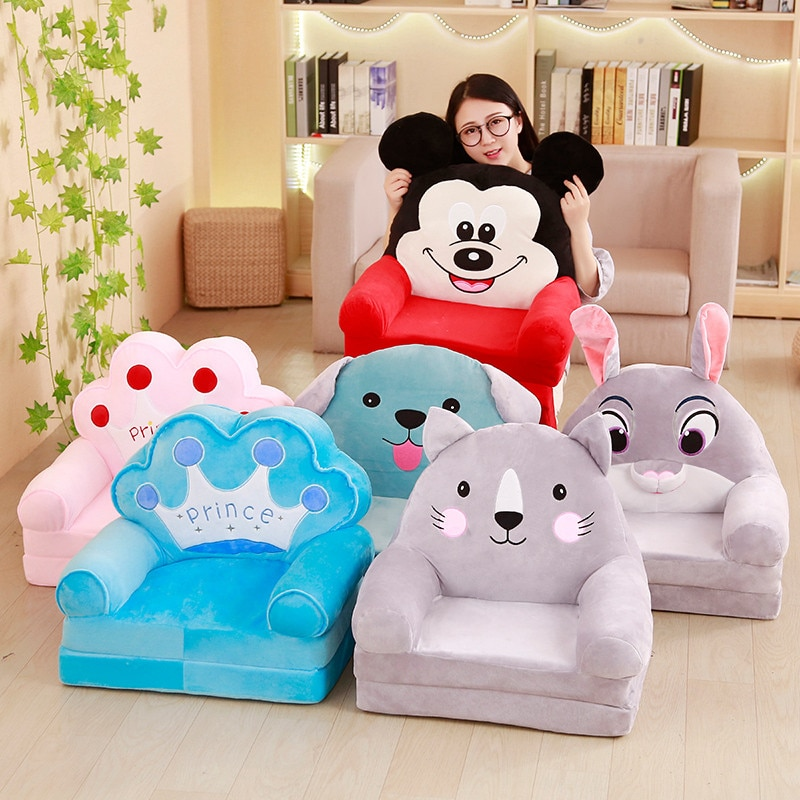 only Cover Soft Baby Sofa Animal Cara Crown Rabbit Plush Toys Infant Back Support Baby Sofa Feeding