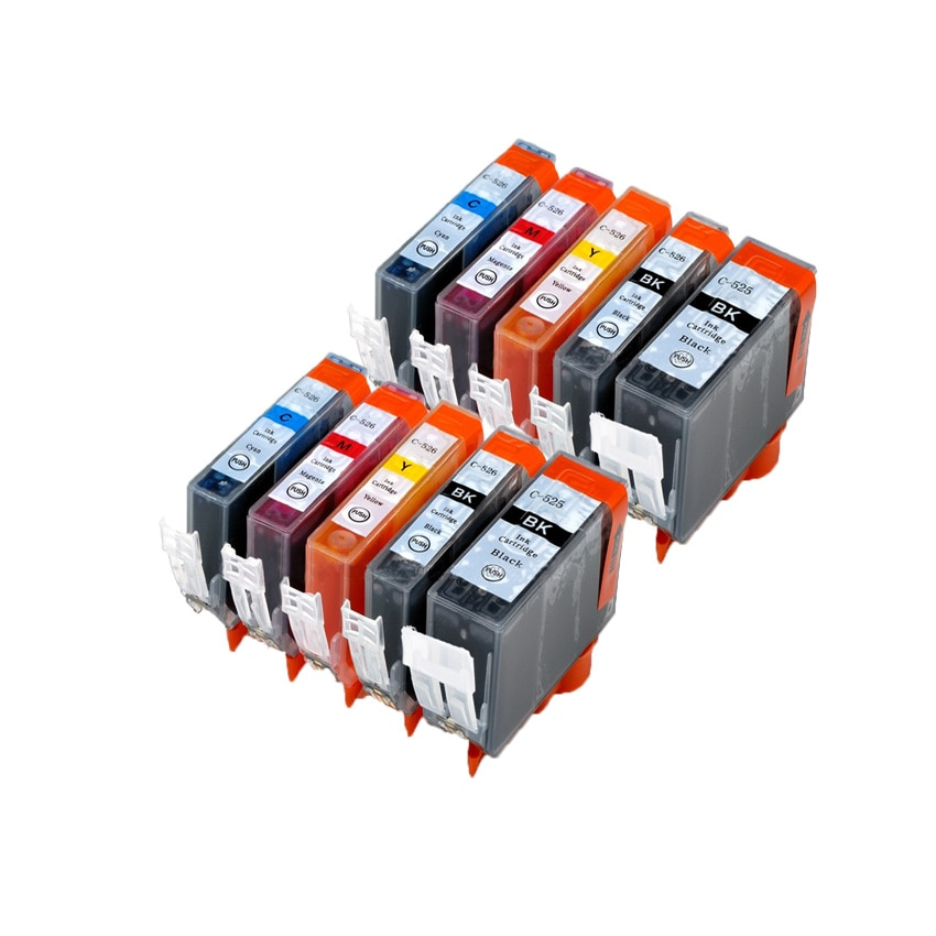 10 pcs PGI 525 CLI 526  ink cartridge For canon PIXMA IP4850 IP4950 IX6550 MG5150 MG5250 MG5350 MX715 MX885 MX895 Printer