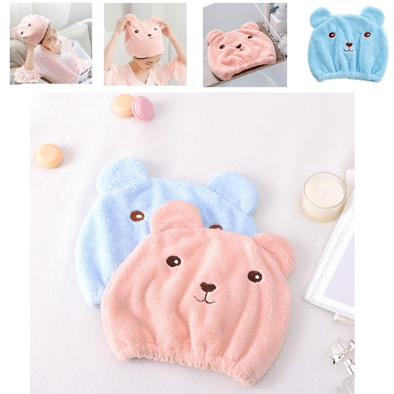 5 piezas precioso pelo seco sombrero Toalla de baño fuerte absorción secado ducha tapas baño ducha tapa de baño elástico banda gorra de ducha