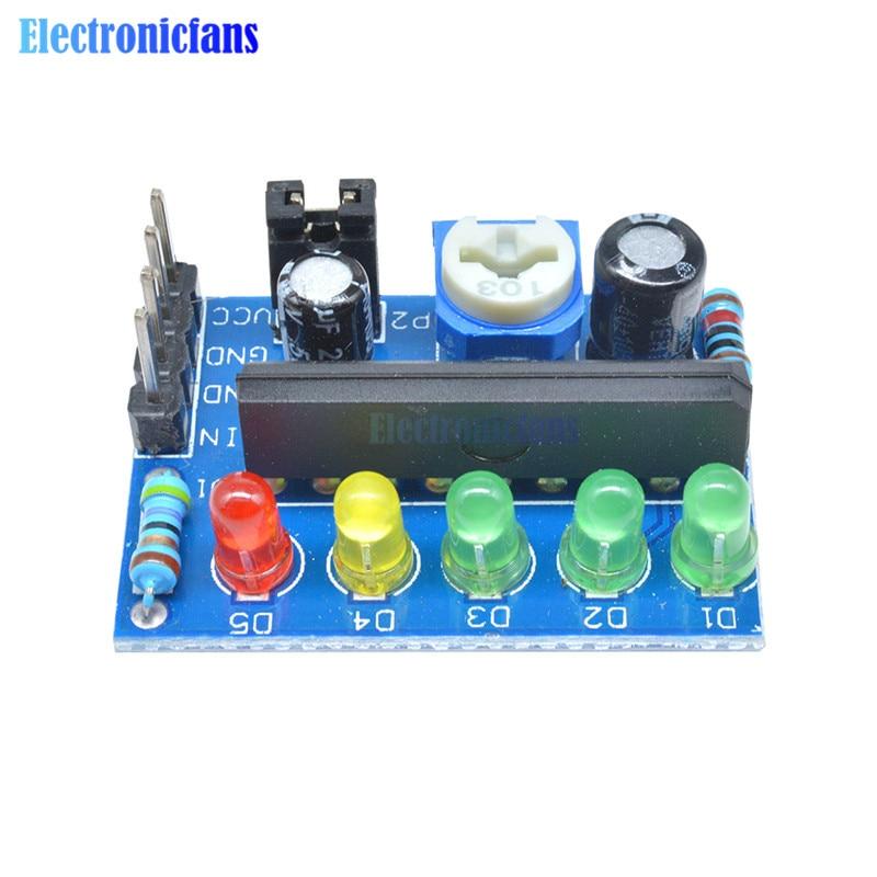 KA2284 indicador de nivel de batería de potencia Pro Audio módulo indicador de nivel 5 LED controlador AC DC señal Pcb placa 3,5 V-12 V