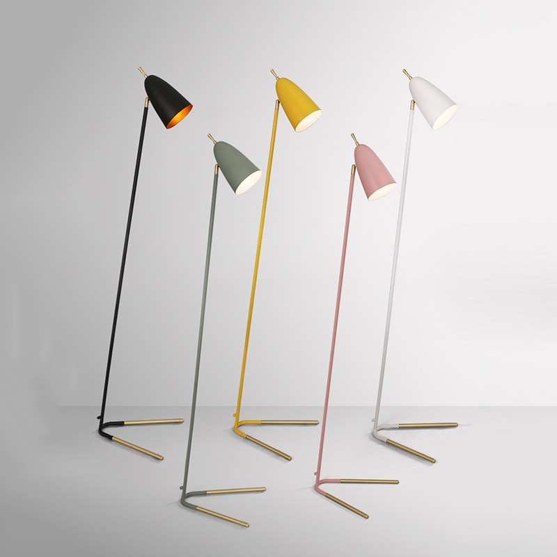 Lámpara LED de pie E27, moderna, industrial, clásica, nórdica, creativa, para sala de estar, dormitorio, estudio, lámpara de pie vertical de hierro forjado