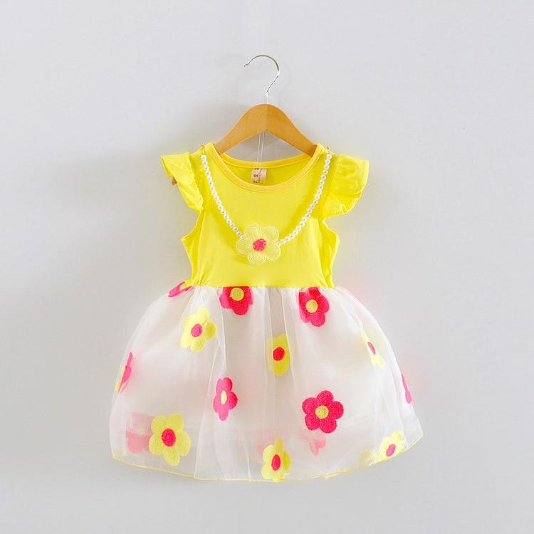 Ropa de niña nuevo 2016 verano niñas sin mangas flor bebé collar vestido bebé niñas vestido niños ropa infantil vestido