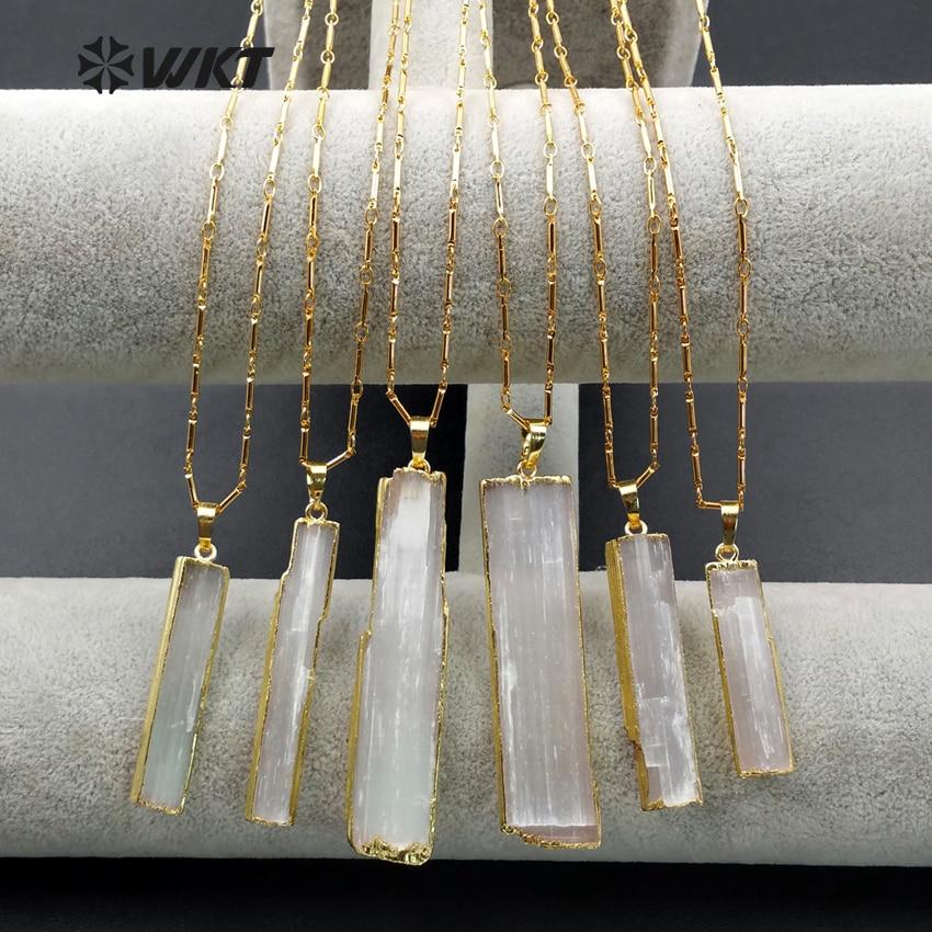 WT-N1021 الجملة الأزياء والمجوهرات الطبيعية الذهب حافة زيلونيت الكريستال شفرة قلادة مع 24 الذهب بالكهرباء الشحن شكل