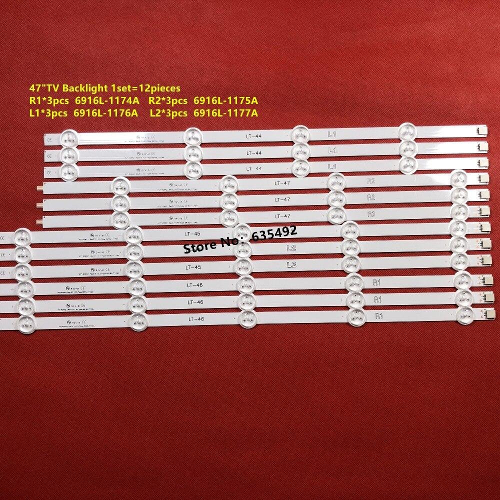 12 PIÈCES LED bande de rétro-éclairage Pour LG 47 pouces 47E380S 47LN578S 47LN578V 47LN5788 47LA6210 47E5ERS 47LP360C 47LN519C 47LN5790 47LN5406