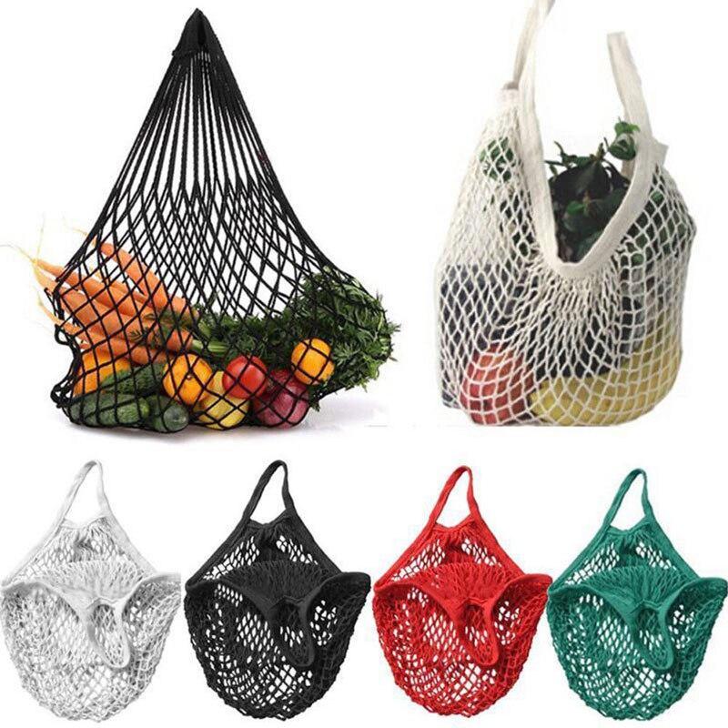 1 Pza reutilizable de productos de supermercado bolsas de algodón malla ecológica mercado Cadena de red bolsa de mano cocina frutas verduras bolsa colgante práctico
