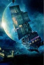 Peter Pan Jolly Roger Pirate Ship London Tower Moon City backdrop Vinyl cloth Computer print children kids  Backgrounds