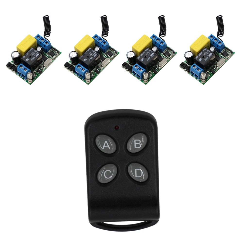 أعلى جودة 4 استقبال + 1 الارسال ac 220 فولت 10a اللاسلكي نظام التحكم عن ضوء اللاسلكية التبديل للبيع 315/433. 92 ميجا هرتز