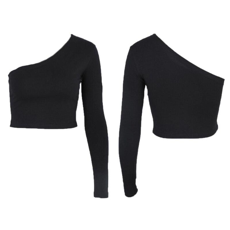 One Shoulder Women Long Sleeve Crop Top Shirt Slim Sexy T-Shirt Casual