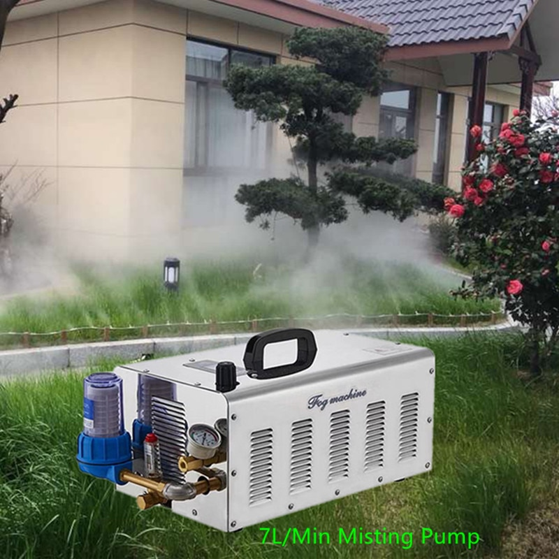 S101 Quality misting pump fog machine 7L/MIN mist spray set with 100M 9.52mm hose 100pcs mister for greenhouse humidification