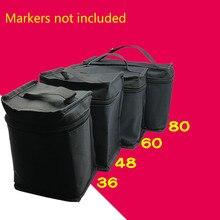 36/48/60/80 Markers Pen Bag Container Pen Zipper Case-Black Multifunction Large Capacity Black Folding Marker Pen
