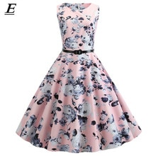 Floral Print Frauen Sommer Kleid Elegante O-ansatz Ärmelloses Tank Robe Vintage Rockabilly Kleid 1950 S 60 S Pinup Schaukel Vestidos gürtel